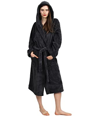 TowelSelections Women's Hooded Plush Bathrobe Fleece Spa Robe Made in Turkey