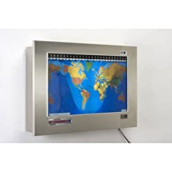 Original Kilburg Geochron World Clock Finish: Brushed Stainless Steel, Silver Trim