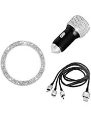 Bling USB Car Charger 5V/2.1A Silver Crystal Decoration Dual Port Fast Adapter with 3.9ft Nylon Type C/Micro USB 3-in-1 Multi Charging Cable for iPhone iPad Android, Car Bling Sticker Start Ring