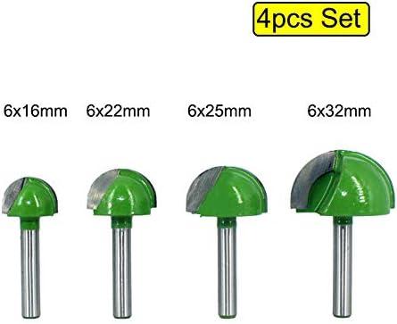 CHENWN 4Pcs 6Mm Schaft-Kugel-Nasen-Fräser-Spitzen-Satz Schaftfräser Round Cove Box VHM-CNC-Radius Core-Fräsen Bit MC0602