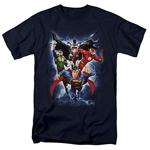Justice League Superman Batman Flash Green Lantern T Shirt & Stickers (XX-Large)