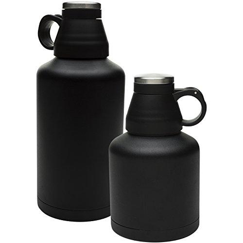 Zak Designs Arcadia 64 oz. Double-Wall Vacuum Insulated Growler, Black, 2 piece -