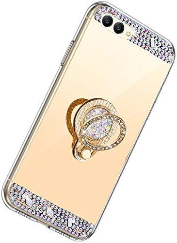 Herbests Kompatibel mit Huawei Honor View 10 Hülle Glitzer Kristall Strass Diamant Silikon Handyhülle mit Ring Halter Ständer Schutzhülle Überzug Spiegel Clear View Handytasche,Gold