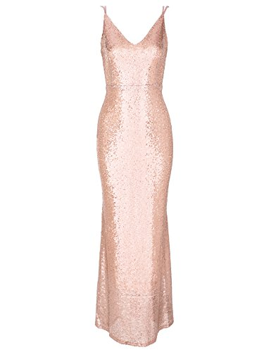 Flapper Girl Women's Backless Sexy Mermaid Deep V Neck Sequin Long Evening Prom Dress (4, Rose Gold)