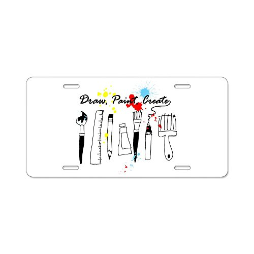 CafePress - Draw Paint Create (Color) - Aluminum License Plate, Front License Plate, Vanity Tag