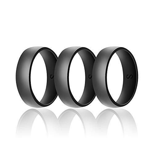 (SANXIULY Mens Silicone Wedding Ring&Durable Rubber Wedding Bands Safe and Weight Lifting for Workout and Active Athletes Width 8mm Pack of 3 Color Black Size 12)
