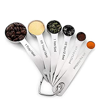 NITHER Stainless Steel Measuring Spoon, Suitable for Measuring Dry IngreDients or Liquids, Set of 6