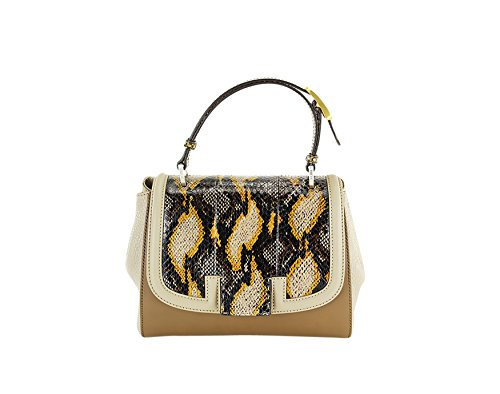 Fendi Womens Silvana Python & Leather Top-Handle Tote Brown - Fendi Duffel