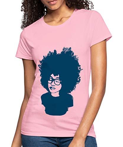 (Spreadshirt Natural Hair Afro Portrait Women's Jersey T-Shirt, L, pink)