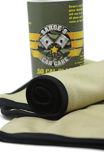"Sarge's Car Care (2 Towels/Package) 50 CAL GLASS CLEANING TOWELS - Silk Bound Premium Microfiber Towel Provides The Cleanest, Streak & Lint-free Finish - 2 LG Glass Towels (16"" x 141/2"") - Wine Glass"