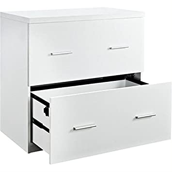 Amazon.com : Bowery Hill 2 Drawer Lateral File Cabinet in White ...