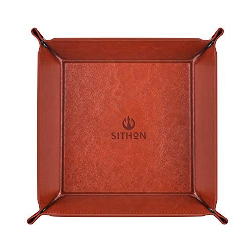 SITHON Valet Tray Desktop Storage Organizer - Multi-Use PU Leather Catchall Tray Bedside Nightstand Caddy Dice Holder for Keys, Phone, Wallet, Coin, Jewelry, Traveling and More, Brown from SITHON