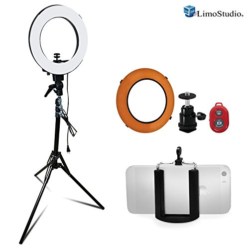 LimoStudio 14 inch Diameter Dimmable Continuous Round Ring Light, for Beauty Facial Shoot, Light Stand Tripod, Cell Phone Spring Clip Holder, Camera Adapter, Photo Studio, AGG2418V3 by LimoStudio
