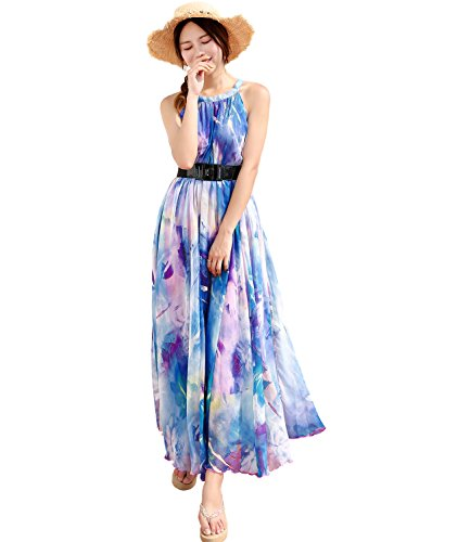 (Medeshe Women's Chiffon Floral Holiday Beach Bridesmaid Maxi Dress Sundress (Medium, Lavender Lotus))