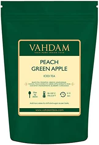 VAHDAM, Peach Green Apple Iced Tea | 7.06 Oz , 40 Servings | 100% Natural Ingredients | Delicious Flavor of Oolong Tea & Tropical Fruits | Peach Iced Tea | Iced Tea Loose Leaf