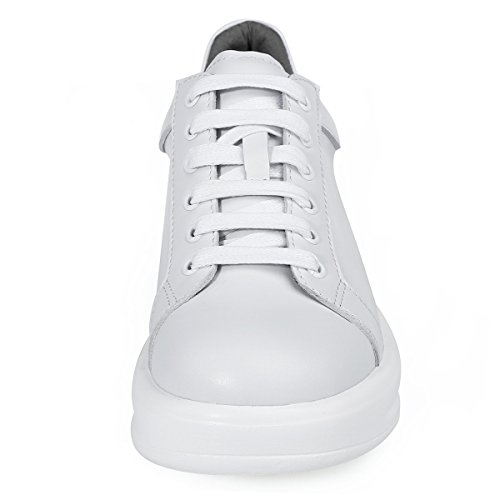 Roseg Womens Lace Up Lederen Casual Sneakers Platform Oxford White