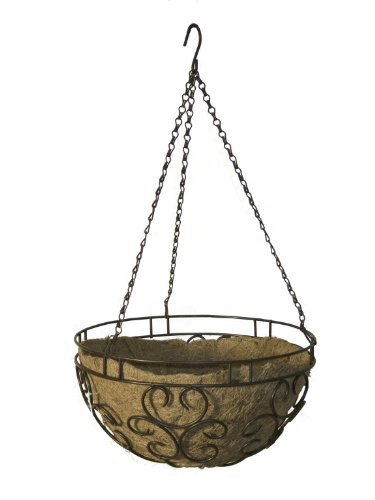 Panacea Products Cameo Series 14-Inch Hanging Basket, Cameo Brown