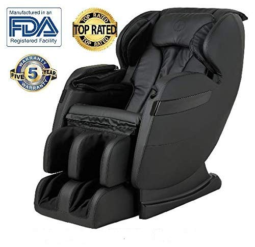 (New FOREVER REST FR-5Ks Premier Back Saver, SHIATSU, Zero Gravity Massage Chair with Foot Rolling and Built in Heat, Stretch Mode (Black))