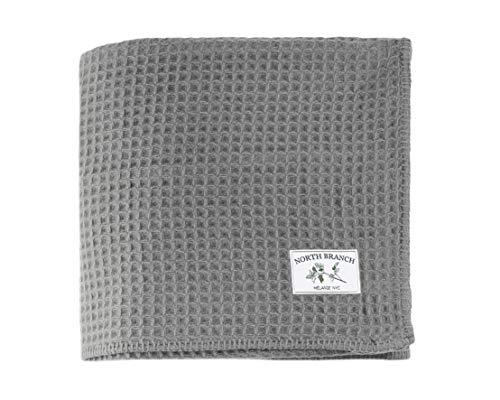 - Melange Home Waffle Weave Merino Wool Blanket King Gray