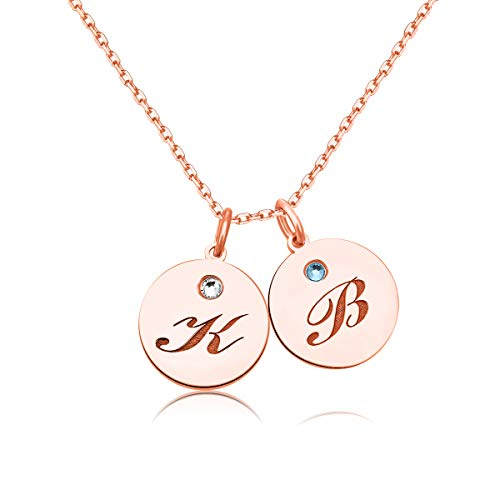 Hybedora Initial Necklace Personalized, Sterling Silver Custom Alphabet Disc Necklace with Birthstone