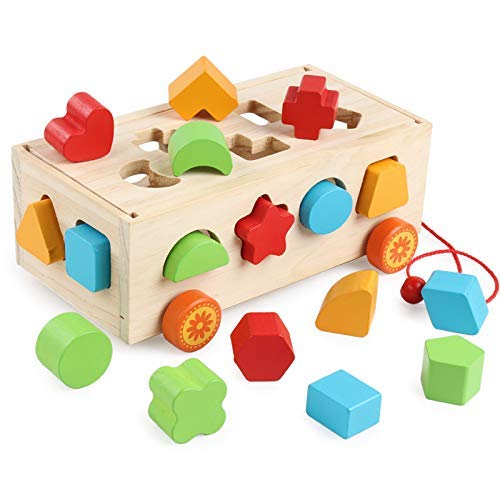 Wooden Toy Shape Sorter Bus Classic Push Pull Truck Toy for Baby and Toddlers Recognition Color Geometry Learning Toy,Educational Preschool Toy for Kids 3,4,5 Years Old ( 9.45