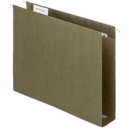 Blue Summit Supplies Extra Capacity Hanging File Folders, 25 Reinforced Hang Folders, Heavy Duty 2'' Expansion, Letter Size, Designed for Bulky Files and Charts, Letter Size, Standard Green, 25 Pack ()