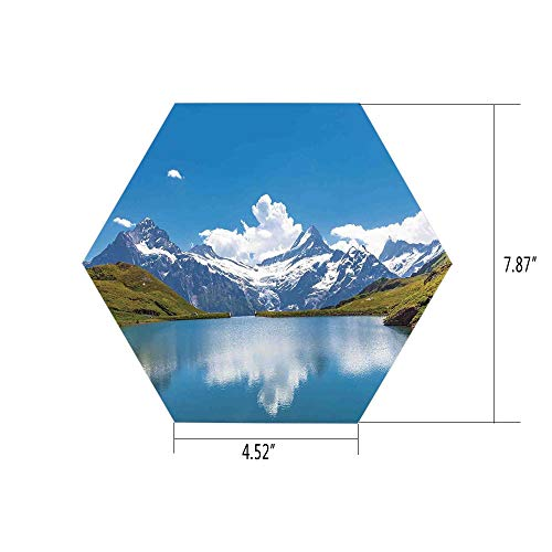 Snow Shiv (iPrint Hexagon Wall Sticker,Mural Decal,Lake House Decor,Dreamy View of Alpine Lake with Snow Frozen Peaks Swiss Northern Explore Photo,Blue Green White,for Home Decor 4.52x7.87 10 Pcs/Set)