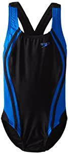 Speedo Big Girls' Youth Quantum Splice Swimsuit, Black/Blue, 22/6