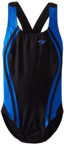 Speedo Big Girls'  Youth Quantum Splice Swimsuit, Black/Blue, 28/12