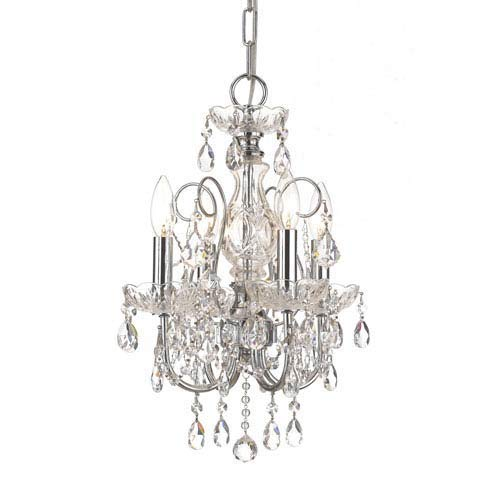 Crystorama 3224-CH-CL-MWP Crystal Four Light Mini Chandeliers from Imperial collection in Chrome, Pol. Nckl.finish, ()