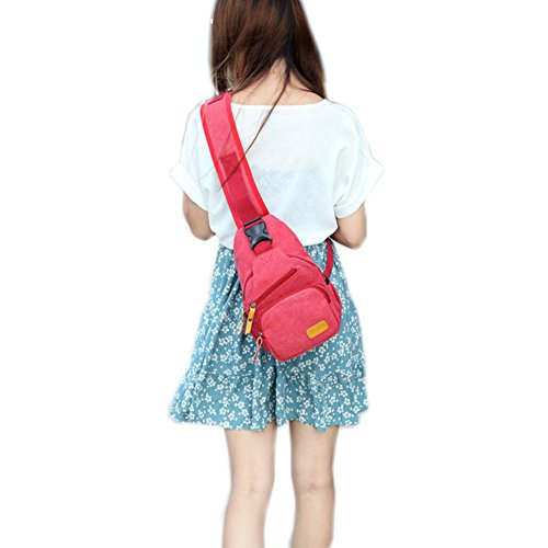 Modelshow Mujeres Chica al aire libre Casual lienzo leisuring deportes Ciclismo Running Mochila bolsa de pecho paquetes, color caqui, tamaño 32(Height)*18(Width)*8(Thickness) cm Red
