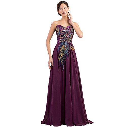 MEI&S La mujer elegante Vestido Vintage Prom Stomacher Larga Noche Maxi vestido de fiesta purple red