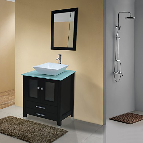Belvedere Modern Bathroom Vanity Tempered Glass Sink with Chrome Faucet, 23 Inches delicate