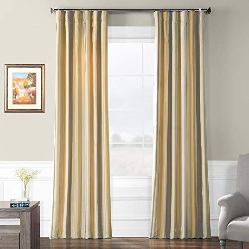 (Pts-SLK940-84 Luxury Faux Silk Stripe Curtain, 50 x 84, Norfolk)