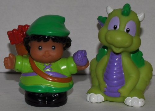 Little People Green Dragon & Robin Hood (2003) - Replacement Figure - Classic Fisher Price Collectible Figures - Loose Out Of Package & Print (OOP) - Zoo Circus Ark Pet Castle