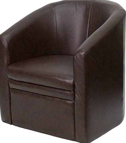 Campton Brown Leathersoft Barrel-Shaped Guest Lounge Chair - Reception Area Side Chair | Model LNGCHR - 286