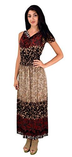 [Peach Couture Women Casual Vinatge Boho Sleeveless Floral Summer Long Maxi Dress Medium, Red] (Renaissance Style Dress)