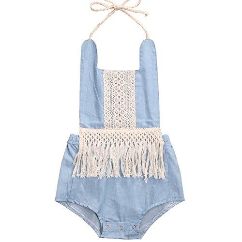 Body Fringe (ONE'S Baby Girls Denim Romper Vintage Fringe Halter Neck Bodysuit Beach Sunsuit Outfits (Blue, 12-18 Months))