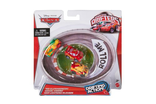 Cars Micro Drifters Rip Clutchgoneski, Miguel and Lightning McQueen Toy Vehicle, 3-Pack (Micro Drifters Cars compare prices)