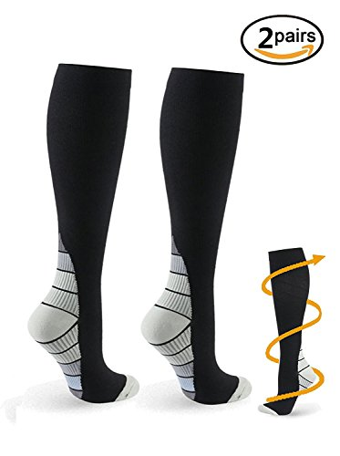 2 Pairs Eulay Men & Women Graduated Compression Socks Ideal for Running, Pregnancy, Flight & Travel, Nursing,Shin Splints,Boost Stamina, Circulation, & Recovery.(large/extra (Snowboard Binding Brands)