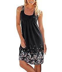 Women's Summer Casual Loose Mini Dress Print Pleated Sleeveless Sundress A-Line Beach Dresses