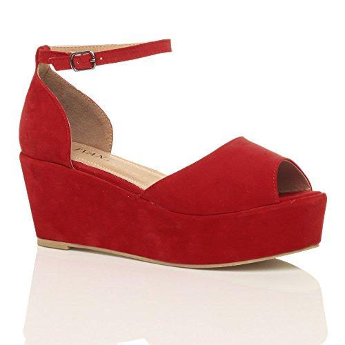 Size Red Women Suede Heel Mid Shoes Sandals Flatform Ajvani Zq4BxYB
