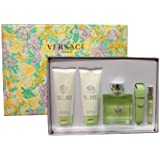 Versace Versense for Women 4 Piece Set: 3.4 Oz Eau De Toilette Spray + 3.4 Oz Refreshing Shower Gel + 3.4 Oz Revitalizing Body Lotion + Roller Ball By Versace