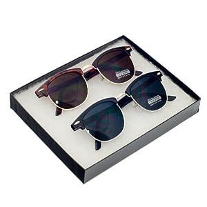 MJ EYEWEAR Vintage Inspired Classic Half Frame Horned Rim Retro Classic Sunglasses (Vintage Set - (Tortoise Gold/Black Silver)