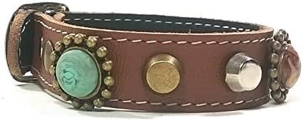 Superpipapo Pulsera de Cuero con Hebilla a Juego, Diseño Bohemo Piedras Color Turquesa