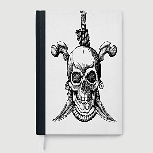 Thick Notebook/Journal,Pirate,Notebook,Jolly Roger Skull with Two Knifes Bones and Hanging Rope Gothic Criminal Halloween Decorative,96 Ruled Sheets,B5/7.99x10.02 -