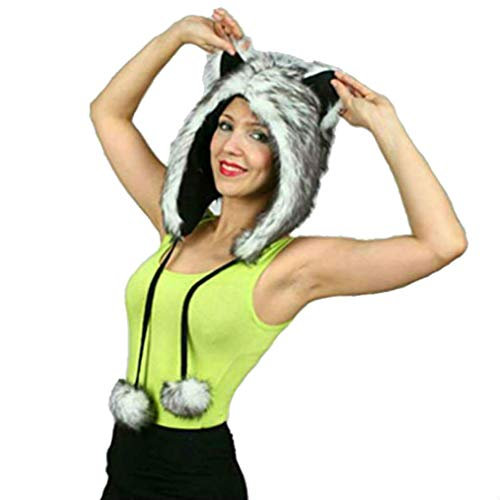 Gray Grey Wolf Anime Faux Animal Half Hood Hoods Scarf Spirit Ears ()