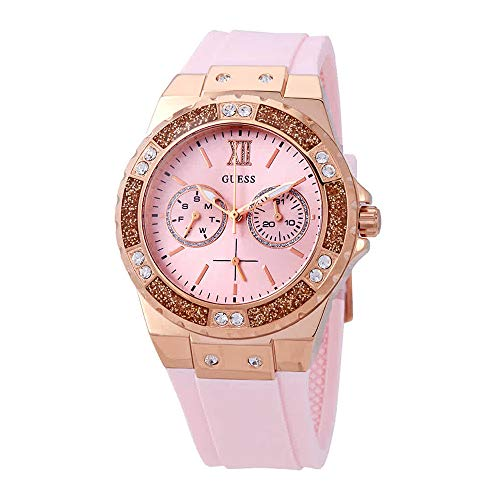 Guess Womens Analogue Quartz Watch with Silicone Strap - Pink Watch Guess