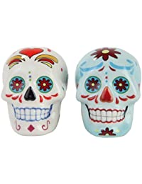 Gain 1 X Day of Dead Sugar White & Blue Skulls Salt & Pepper Shakers Set- Skulls Collection wholesale