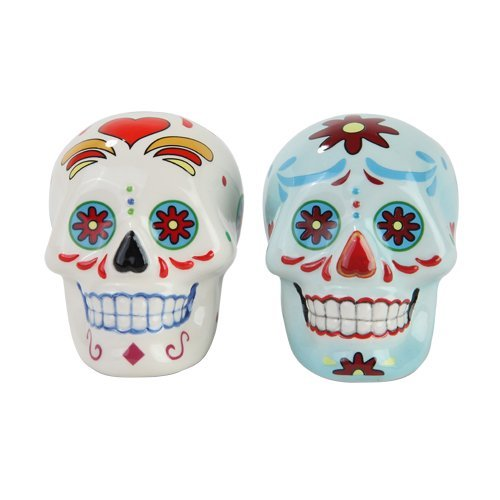 Day of the Dead White and Blue Sugar Skull Design Salt and Pepper Shakers Set Cute Salt And Pepper Shakers